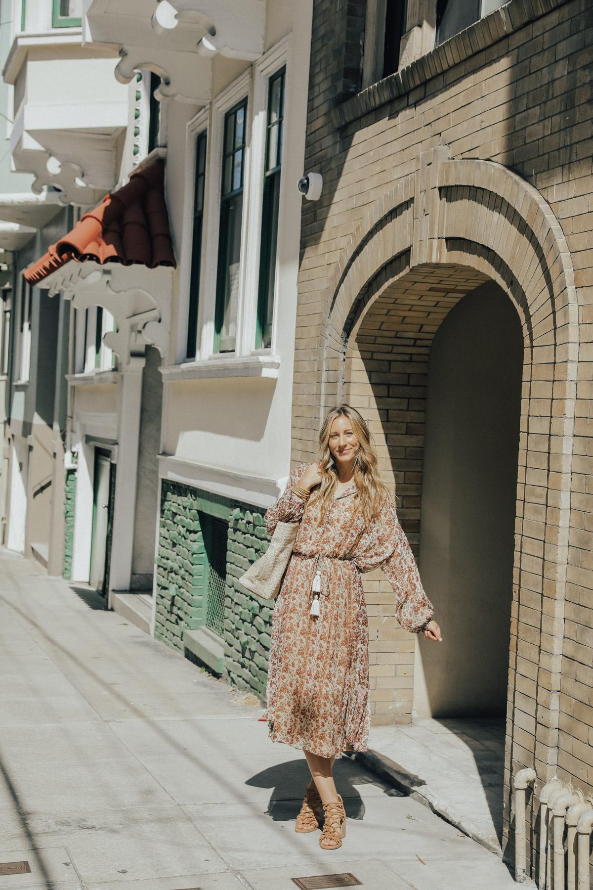 vestido midi floral de manga larga nordstrom