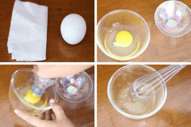 Clara de huevo para las espinillas